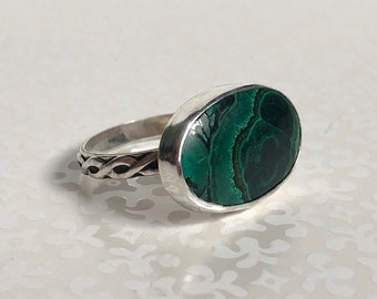 Ceynote Malachite Green Silver Ring