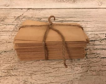 50 Vintage Small Kraft Paper Envelopes- Manilla Envelopes - Great for Coins, Scraps and Favors