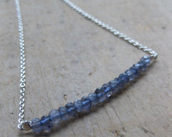 faceted denim blue IOLITE sterling silver necklace
