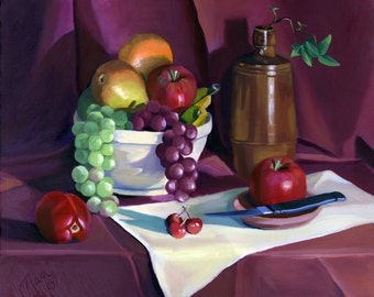 Still Life with Apples Framed Oil Painting