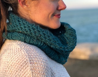 Hand knit chunky winter cowl scarf