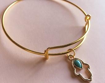Hamsa Hand Bangle Bracelet - Gold - Adjustable