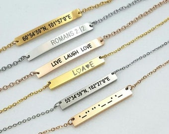 Personalized Necklaces For Women, Engraved Bar Necklace, Laser Engraved Necklace, Morse Code Coordination Necklace