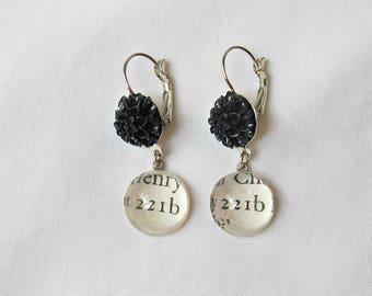 Sherlock Holmes Gift Earrings - 221b Baker Street Jewelry Jewellery - Black Flower Floral Botanical Bookworm