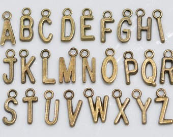 26 Antiqued Bronze Alphabet Charms BC1041