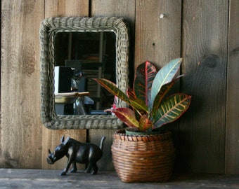 Rustic Rattan Mirror Wicker Gray Vintage From Nowvintage on Etsy