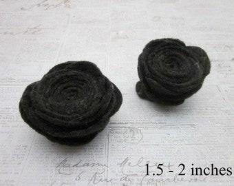 Black Rose Accessory, Black Flower Pins, Black Flower Brooch, Black Lapel Pin, Black Felt Pins, Black Felt Brooch, Black Felt Pin Accessory