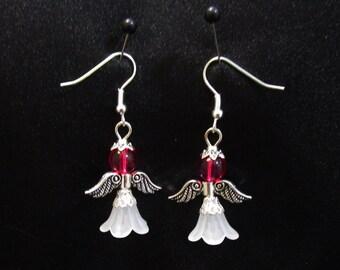 Set of Pink Guardian Angel Earrings  Angel Charm Earrings Charm Dangle Drop Jewelry French Hook Ear Wires