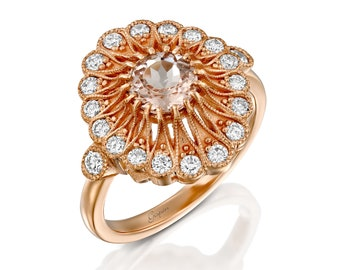 Unique Vintage Diamond Morganite Engagement Ring Rose Gold, Antique Engagement Ring