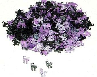 Halloween Black and Purple Textured Cat Confetti, 500 Pieces