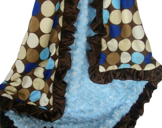 Personalized Blue and Brown Large Mod Dots Minky Baby Blanket