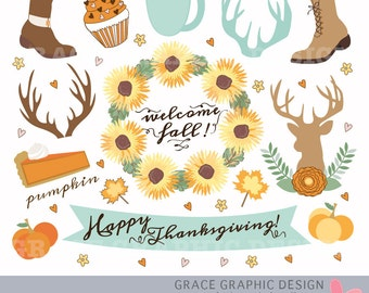 Thanksgiving FALL CLIPART, Autumn clipart, nature clipart, digital illustrations, instant download eps FALL clipart set, Antler Clipart