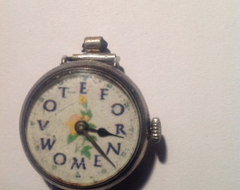 Vintage Solid Silver SUFFRAGETTE Ladies wrist watch Antique