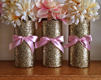 3 Gold Vases, Wedding, Pink and Gold Baby shower, centerpieces, wedding centerpiece, pink and gold, centerpieces, wedding, bridal shower