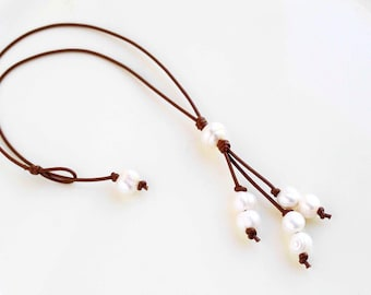 Short White Freshwater Pearls and Genuine Leather Lariat Necklace with Double Pearl Strands