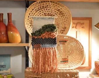 Handmade Fiber Art Wall Hanging, Textile Art, Weaving