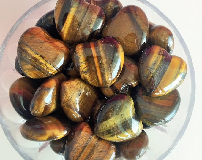 Bulk Crystal Heart 10 Tigers Eye Hearts / Wholesale Healing Crystals and Stones