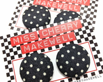 Dark Grey Ditsy Polka Dot Fabric Button Rockabilly 1940's 1950's Pin Up Vintage Inspired Stud or Clip On Earrings By Miss Cherry Makewell