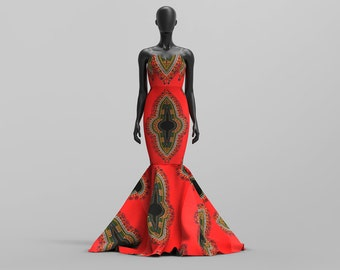 Custom Made Dashiki/African Print /Ankara Print Strapless Evening/ Prom Fishtail Dress: Bisa