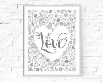 "Printable Love Floral Heart Print - Contemporary Art - Home Decor - Modern Wall Art - Watercolour Art - 8""x10"" and A4."