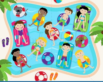 Pool Party Clipart, Pool Party Clip Art for Pool Party Invitations - Commercial and Personal Use
