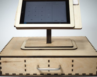Square POS Stand for iPad Mini 1, 2, 3 and 4/ Laser cut and laser engraved POS stand and cashier. Perfect for business and office.