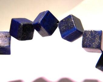 4 bead lapis lazuli cube 14 mm - gemstone fine PG260