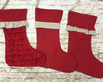 Red personalized Christmas stocking Set of 3 Monogrammed