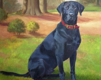 Black Labrador Art, Labrador Retriever Print, Labrador Dog Art Print, Black Lab Retriever Print from Original Oil Painting by P. Tarlow