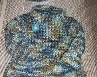 Dress sweater and matching China turquoise wool beret