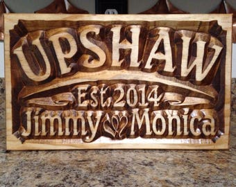 Personalized Wedding Gift Family Name Signs Carved Custom Wooden Sign Last Name Established Anniversary Personalized Sign Gifts Couple