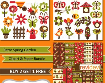 Spring clipart sale, gardening clip art, birds, flowers, watering can - Clipart and Paper Bundle.. Retro Spring Garden