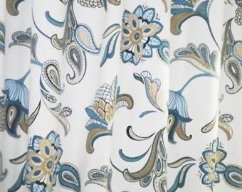 "RTS Two 50"" X 90L designer curtain panels, drapes Covington Savannah Paisley Mariner Blue"