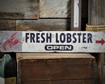 Custom Fresh Lobster Sign - Distressed Rustic Hand Made Vintage Wooden ENS1000535