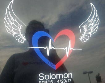 blue and red chd heart with wings and dates for angels
