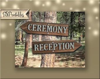 Ceremony-Reception sets directional arrow signs - DIY instant download-rustic industrial barnwood galvanized metal wedding-sierra collection