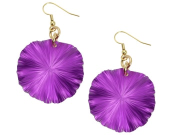 Violet Anodized Aluminum Lily Pad Earrings - Violet Leaf Earrings -  Violet Drop Earrings - Makes a Cool 10th Wedding Anniversary Gift!