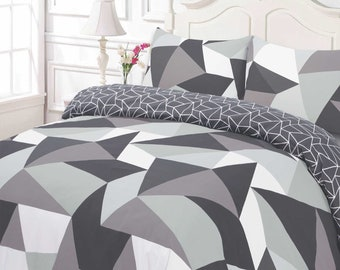 Geometric Shapes Duvet Cover With Pillowcase Bedding Set Black Grey