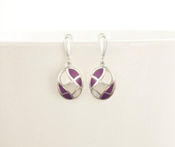 Oval Mosaic Earrings - Sterling Silver Earrings, White Mother of Pearl, Wave Pattern Earrings, Inlay Dangle Earrings, Purple, Shell earrings