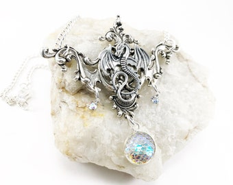 Dragon Necklace - Dragon Pendant - Dragon Jewelry - Fantasy Dragon Jewelry - Dragon Scale Jewelry - Dragon Costume Jewelry - Dragon Charm