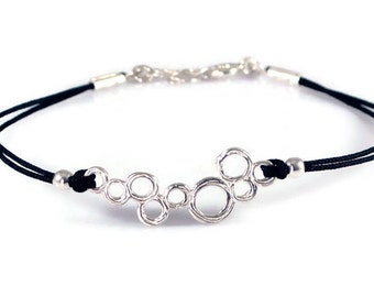 Sterling Silver Charm Bracelet. Circles Bracelet. Adjustable Cord. Women String Bracelet. Minimalist Jewelry. Birthday Gift For Her. Dainty