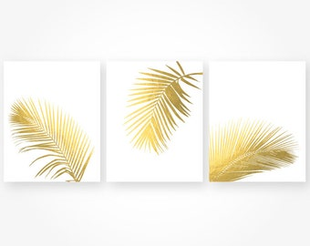 palm leaf digital art print download tropical leaves beach faux gold bedroom living room wall art set decor jpg printable instant download