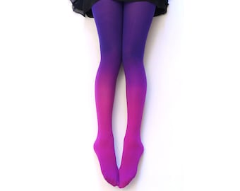 Ombre Tights. FUCHSIA Hand dyed.  Gift Idea.