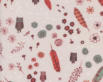 Cozy - Dream Owl in Natural - Alexia Abegg - Cotton and Steel Fabrics - Fabric by the Half Yard