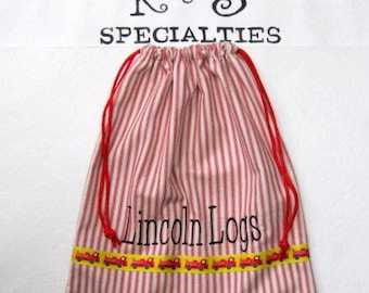 Lincoln Logs /Red Ticking/Drawstring Bags/Perfect for Magna Tiles/Characters/ All Treasures/Personalize Above Fire Trucks Ribbon/PerfectGift