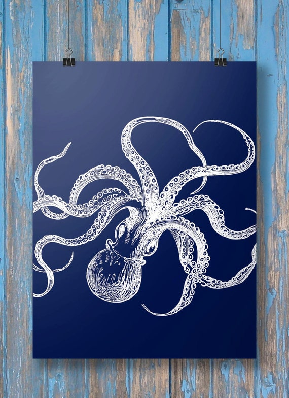 Octopus print navy blue nautical coastal octopus kraken octopus print navy blue nautical coastal octopus kraken tentacles octopus tentacles printable wall art art print instant download malvernweather Gallery