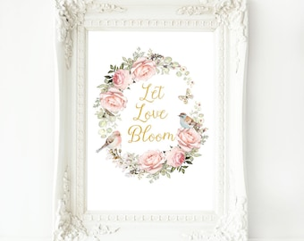 Let love bloom watercolor print, pink rose wreath with birds, Wedding, Valentine decor, A4 giclee