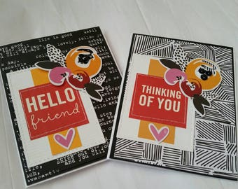 Set of 2 Sewn Friendship Cards. Just Because. Blank Cards. Thinking of You.