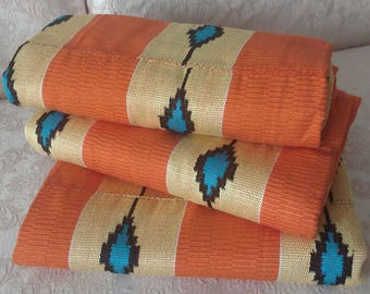 Orange Kente Cloth, Authentic Handwoven Traditional Ghana Fabric, Large Pieces