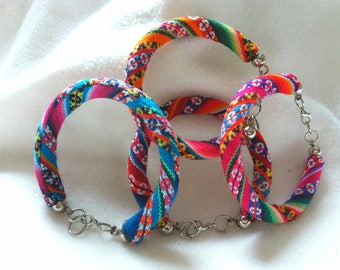 Ethnic bracelet Andean Peruvian fabric and alpaca metal